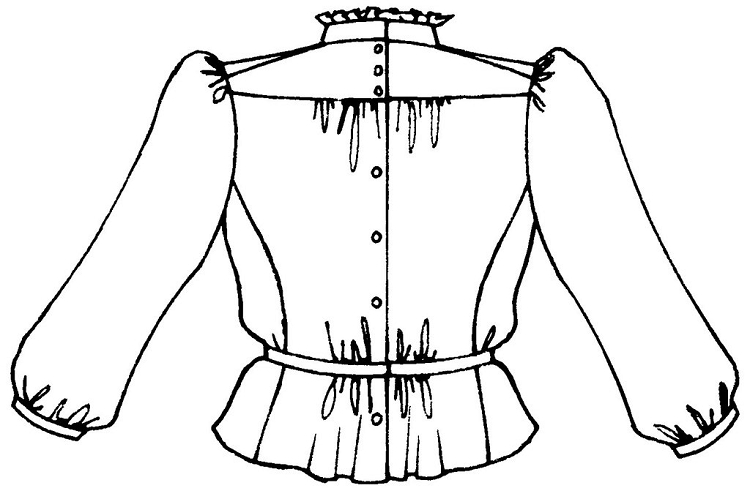 Folkwear Gibson Girl Blouse #205 High Collar Ladies Shirt