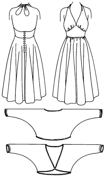 Folkwear Blonde Bombshell #239 Sundress Party Dress Halter