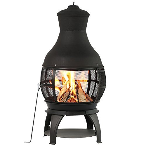 BALI OUTDOORS Outdoor Fireplace Wooden Fire Pit Chimenea Black Best Prices