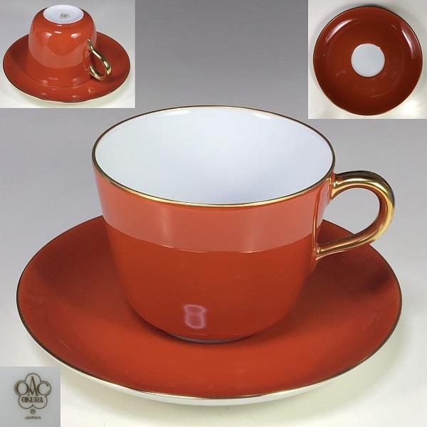 大倉陶園色蒔きレッドモーニングカップ&ソーサー