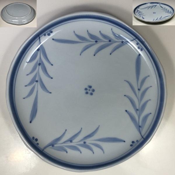 手描染付八寸皿W7365