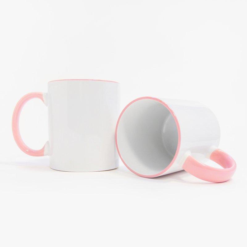 Кружка с цветным розовым ободком