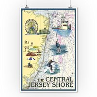 Central Jersey Shore - Nautical Chart (9x12 Collectible ...