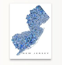 New Jersey Map Print, NJ State Wall Art Decor, Blue - Shop ...