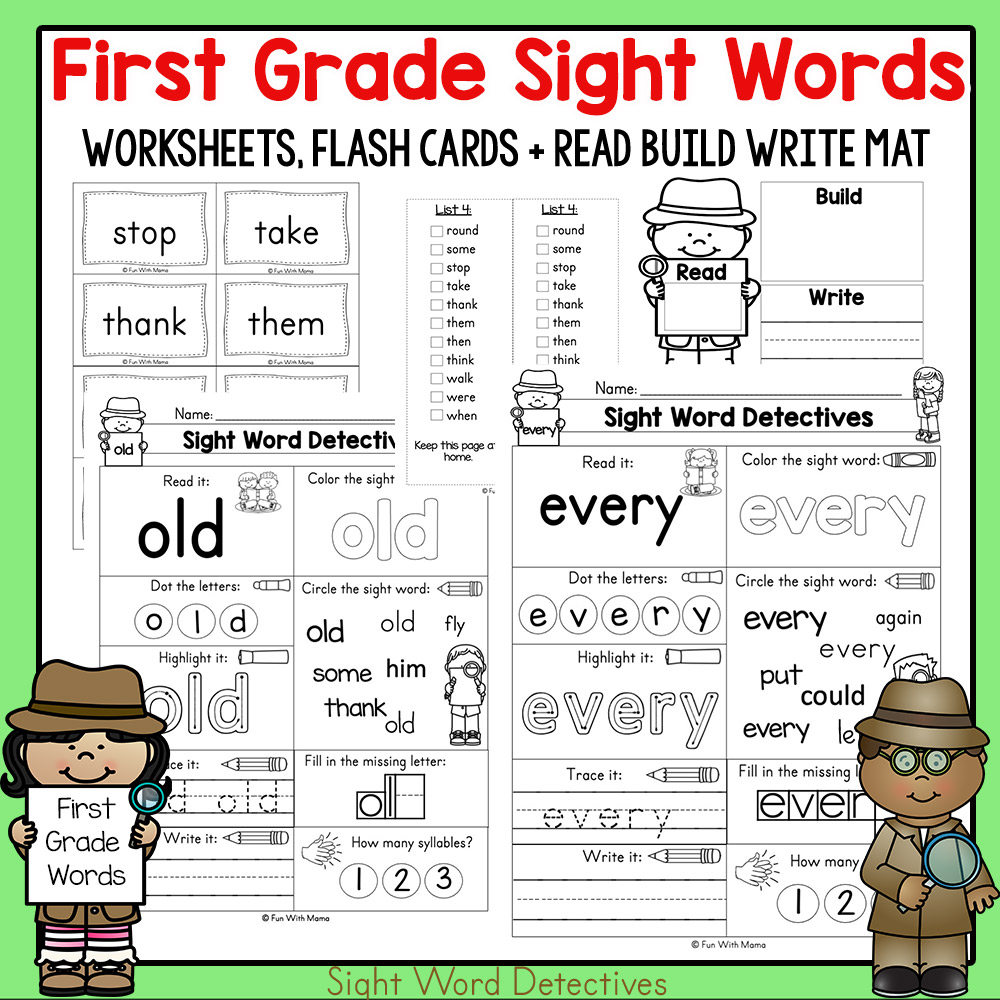 medium resolution of First Grade Sight Words Worksheets and Activities - Fun with Mama Shop