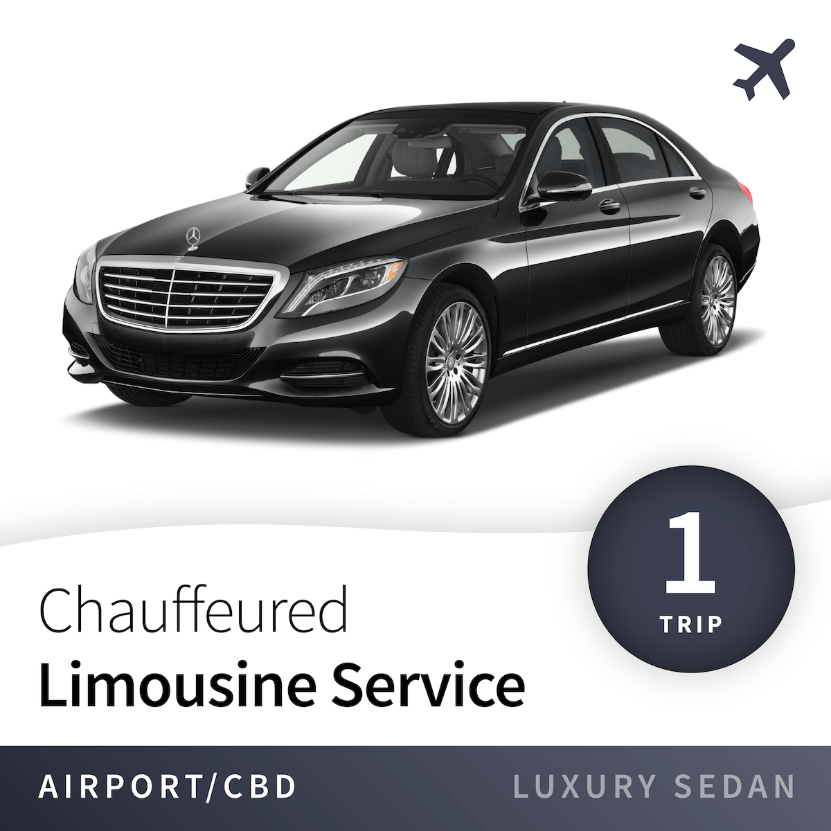 Chauffeured Limousine Service - Airport - Luxury Sedan (1 Trip) 1