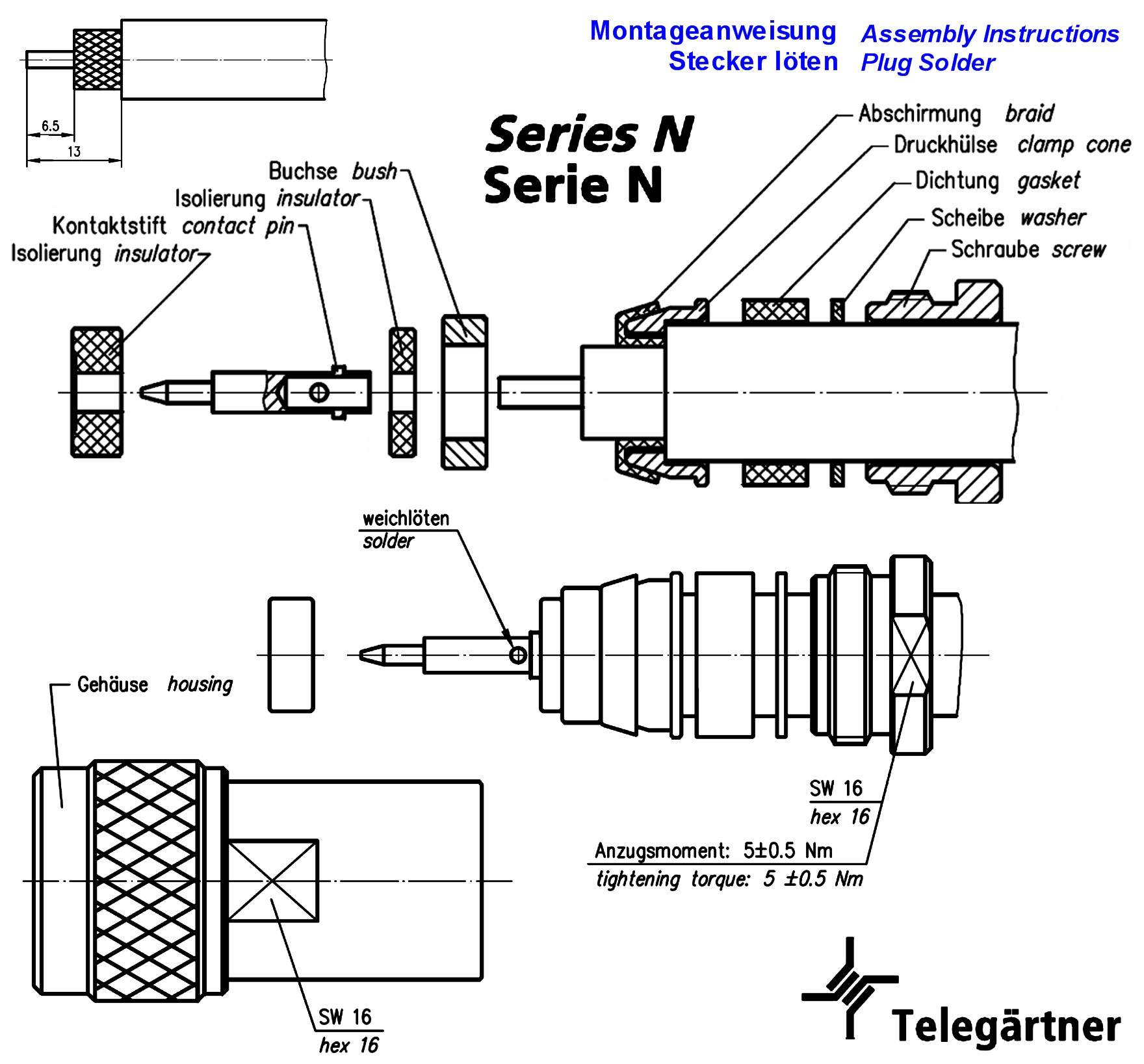 N Plug Straight Solder Clamp Ip67 Telegaertner J H
