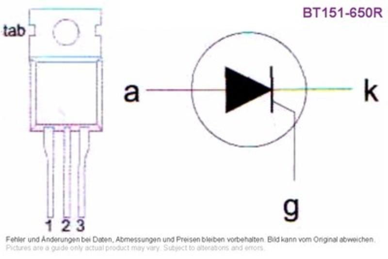 Thyristor 650V(drm) 12I(trms) Type BT151-650R, Grieder