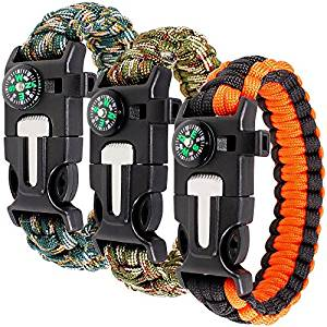 Paracord Bracelet Kit Set of 3 for Outdoor Survival, maxin 9 INCH Survival Gear Kit with Embedded Compass, Fire Starter, Emergency Knife & Whistle.