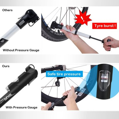Bike Pump, [120 PSI][Perfect Full Set]Diyife Mini Bicycle Pump with Gauge, Ball Pump with Needle, Glueless Patch Kit, Cycle Valve Caps and Frame Mount for Road, Mountain & BMX Fits Presta & Schrader Valve