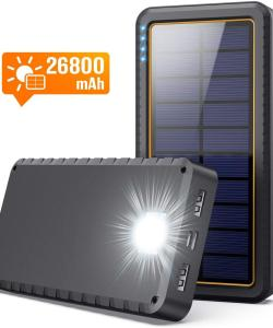 Solar Charger,26800mAh Solar Battery Power Bank Portable Panel Charger with LEDs and 2 USB Output Ports External Battery Pack for Camping Outdoor for Smartphone, Tablet and Android Cellphone