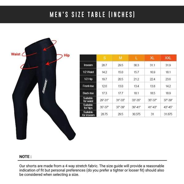 Souke Sports Men's Winter Cycling Pants, Windproof Thermal Bike Athletic Running