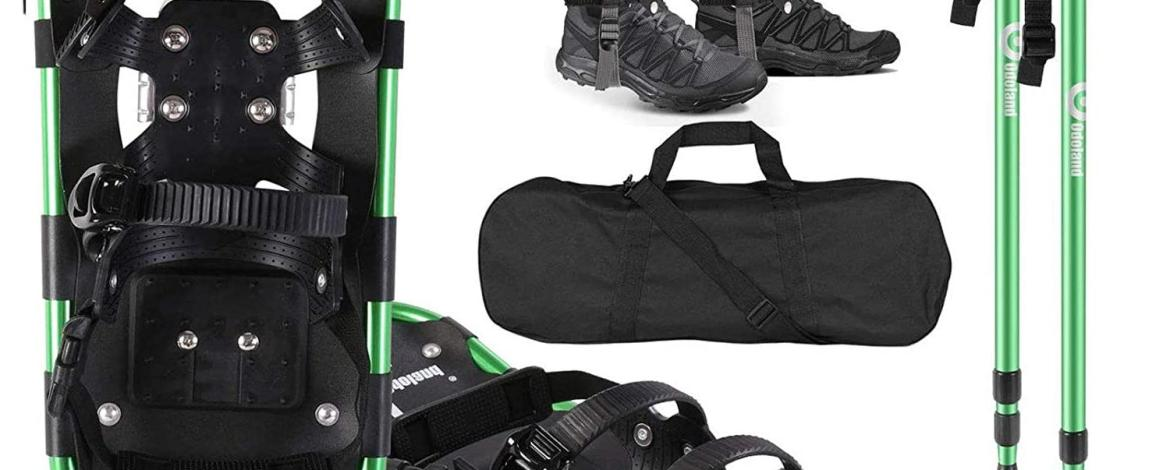 Lightweight Snowshoes With Adjustable Poles, Carry Bag & Snow Gaiters