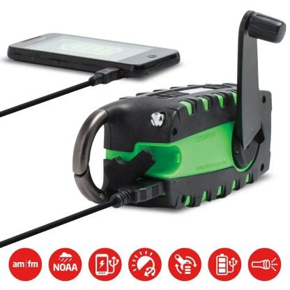 Multipowered Portable Emergency Weather Radio & Flashlight
