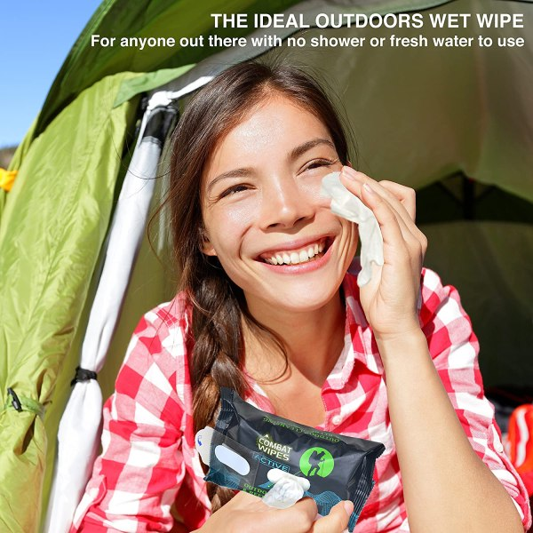 Combat Wipes Active Outdoor Wet Wipes | Extra Thick, Ultralight, Biodegradable, Body & Hand Cleansing/Refreshing Cloths for Camping, Travel, Gym & Backpacking (25 Wipes)