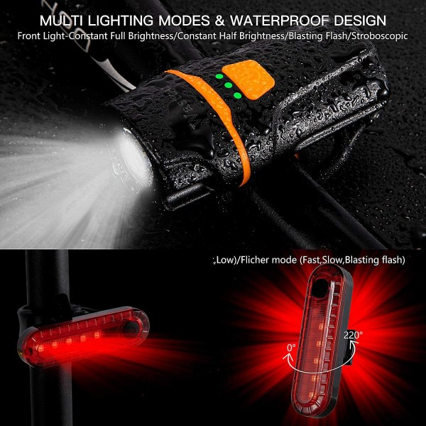 Wastou Bike Lights Super Bright Bike Front Light 1200 Lumen IPX6 Waterproof 6 Modes Cycling Light Flashlight Torch USB Rechargeable Tail Light