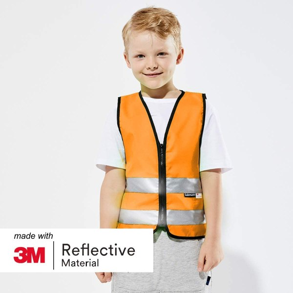 Salzmann 3M Children's High Visibility Safety Vest with Zipper | Made with 3M Reflective Material | Orange