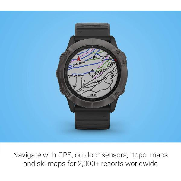 Garmin Fenix 6X Pro Solar, Premium Multisport GPS Watch with Solar Charging, Features Mapping, Music, Grade-Adjusted Pace Guidance and Pulse Ox Sensors, Dark Gray with Black Band