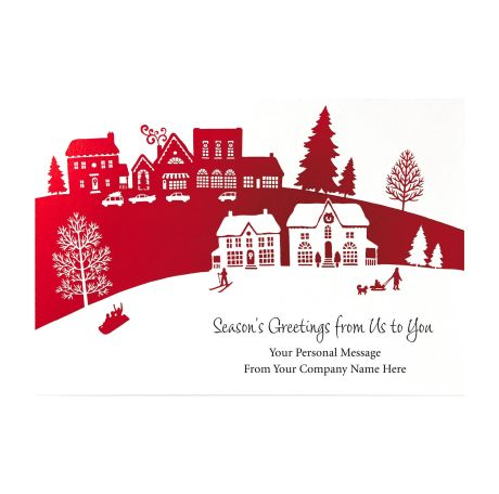 Hallmark business connections holiday cards letterssite happy holiday village greeting cards hallmark business connections m4hsunfo