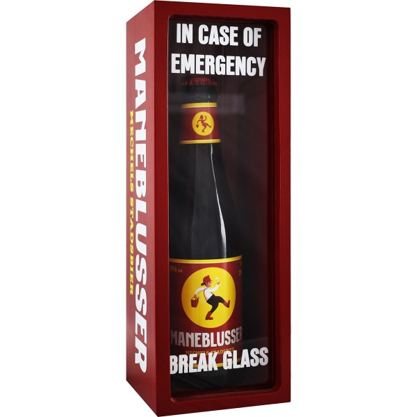 Maneblusser In Case of Emergency in rode doos met plexiglas