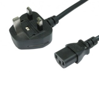 UK Mains to IEC C13 Kettle 1m Black OEM Power Cable