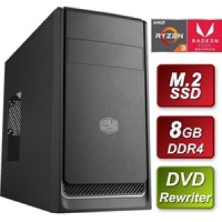 Cooler Master AMD 3200G 3.6GHZ Quad Core 8GB RAM 512GB M.2 DVDRW - Pre-Built System