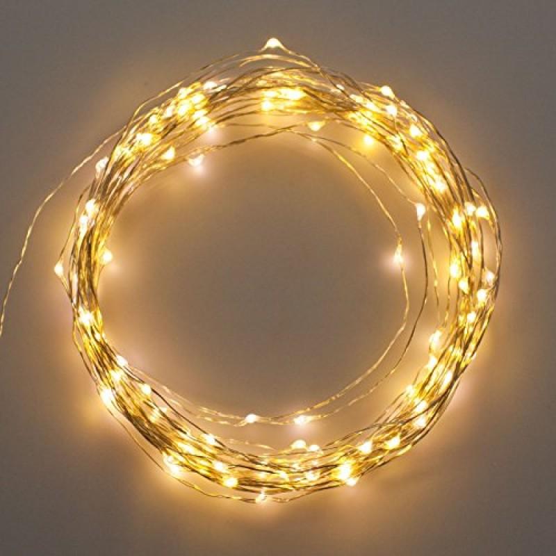 Catena 12 m 120 MicroLed bianco caldo cavo metal luci