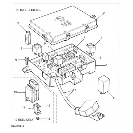 FUSE BOX ASSY P38 DIESEL / KAITSEMPLOKK