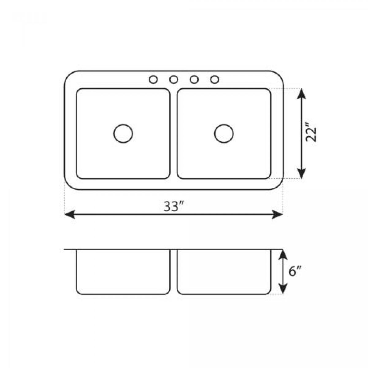 Top Mount Stainless Steel Double Basin Kitchen Sink Model
