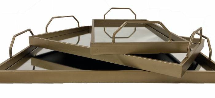 HARRY MIRROR TRAY SET - GOLD