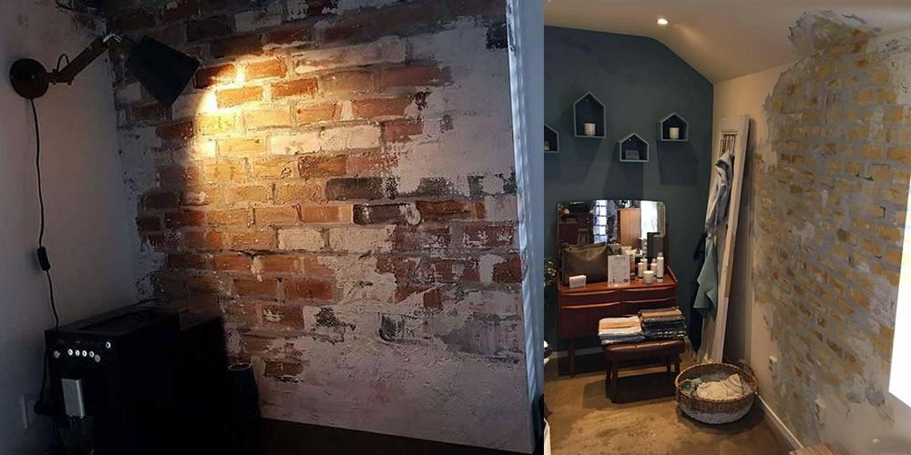 Muurschildering stenen muur industrile look  Webshop