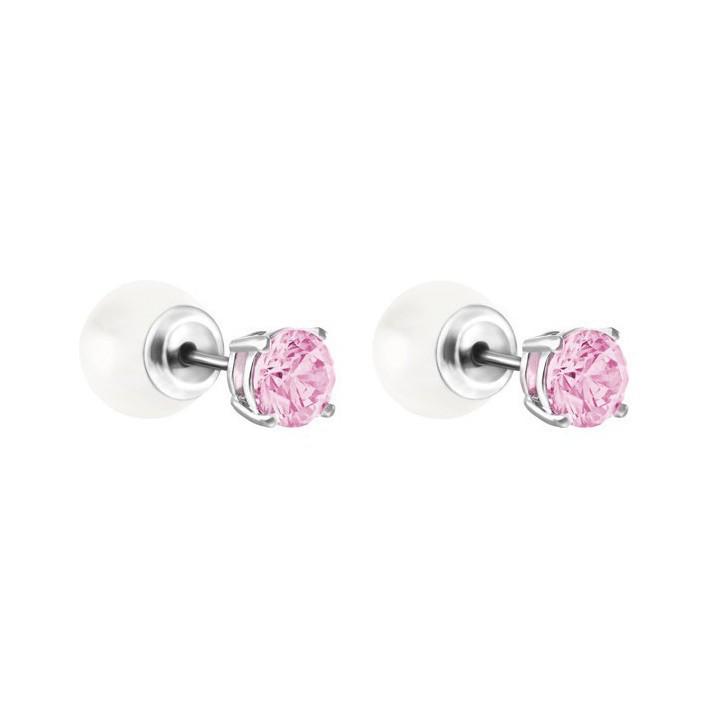 Pendientes dos pares en una piedra rosa y perla 5166807