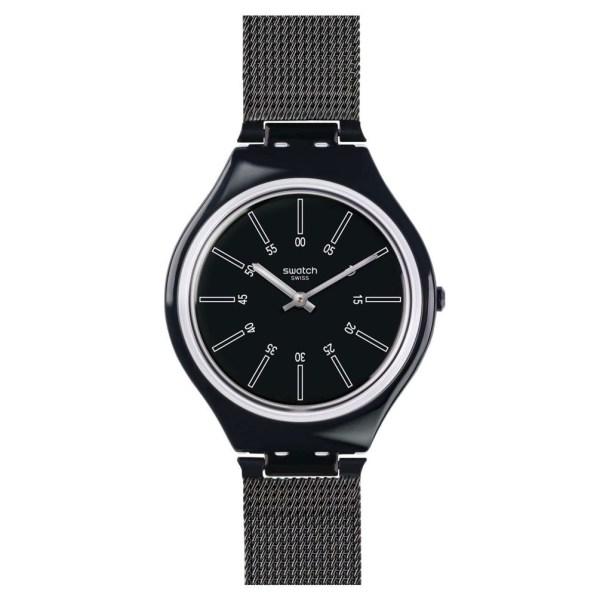49574e7a29 Swatch Skin Black Color Svob100m Skinnotte Metallic Bracelet