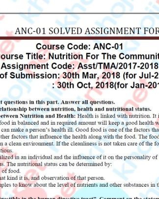 ANC-01 Solved Assignment 2018 IGNOU BDP FREE PDF