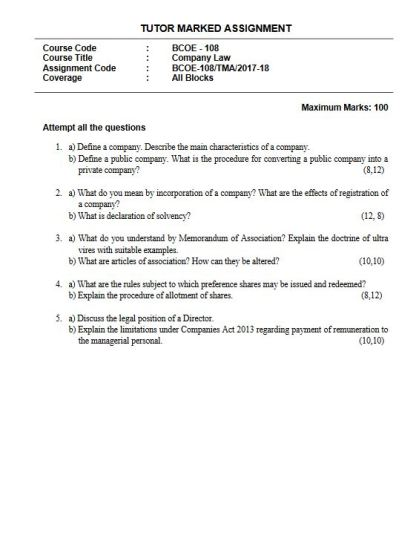 BCOE-108 English Medium Solved Assignment 2017-18