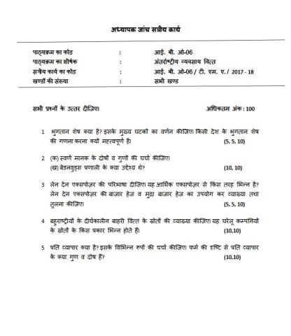 IBO-06 Solved Assignment In Hindi Medium For IGNOU MCOM