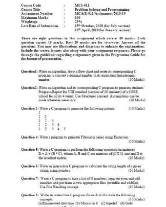 MCS-011 Solved Assignment For IGNOU BCA MCA 2018-2019 PDF Solution