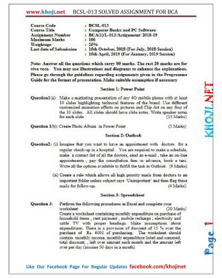 BCSL-013 Solved Assignment 2018-19 IGNOU BCA PDF Solution