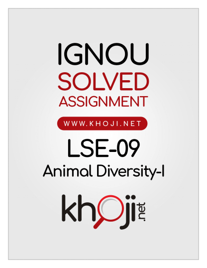 LSE-09 Solved Assignment 2020 Animal Diversity-I