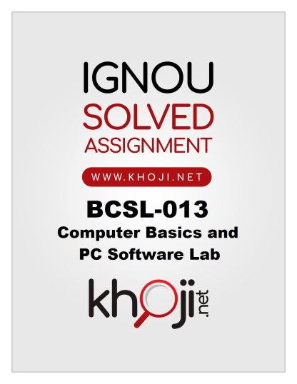 BCSL-013 Solved Assignment 2019-2020 Product Image