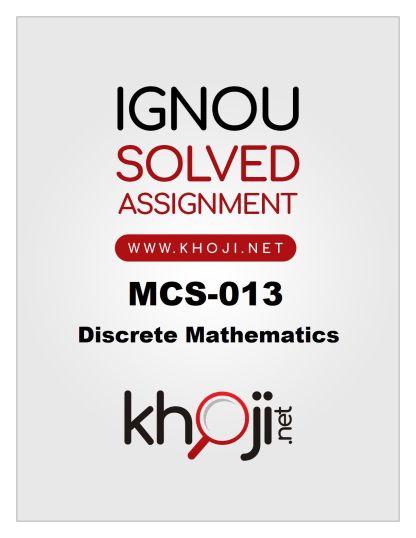 MCS-013 Solved Assignment 2019-20 Discrete Mathematics