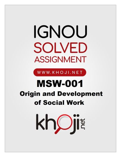 MSW-001 Solved Assignment