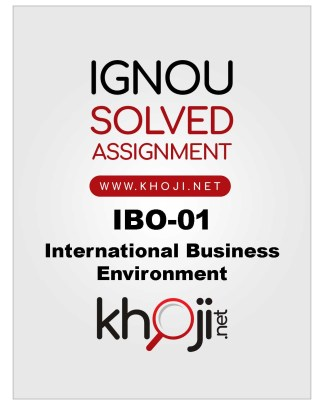 IBO-01 Solved Assignment For IGNOU
