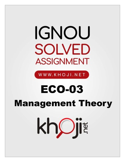 ECO-03 Solved Assignment in English Medium For IGNOU BCOM