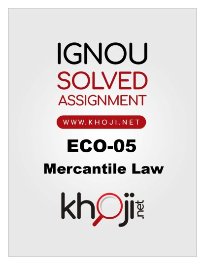 ECO-05 Solved Assignment in English Medium For IGNOU BCOM
