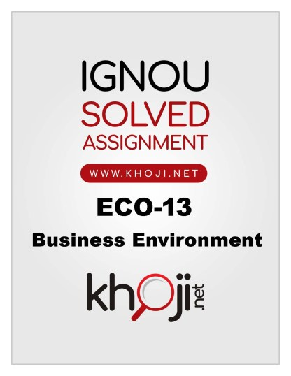 ECO-13 Solved Assignment in English Medium For IGNOU BCOM