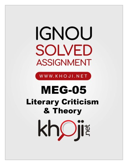 MEG-05 Solved Assignment 2019-20 IGNOU MA English