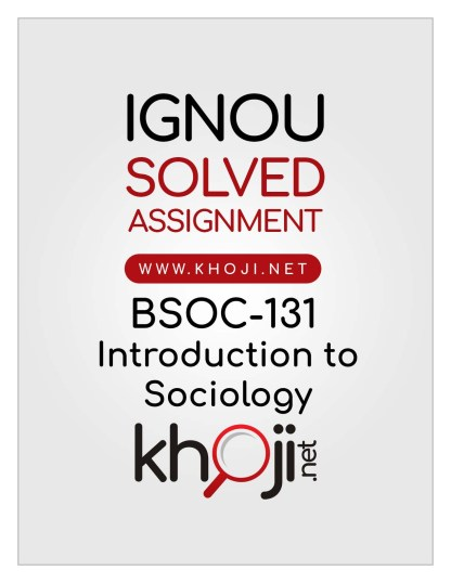 BSOC-131 Solved Assignment In English Medium For IGNOU BAG CBCS BA