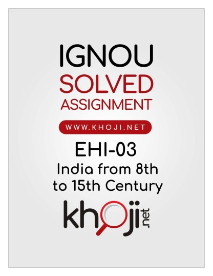 EHI-03 Solved Assignment English Medium For IGNOU BA BDP