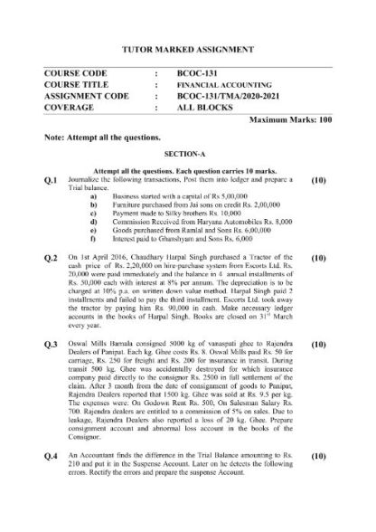 BCOC-131 English Medium Assignment Questions 2020-2021 P1